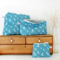 Sailboat Zip Pouch Tall | Makeup Bag | Charlotte Macy